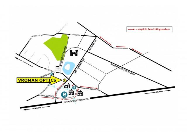 plan Dilbeek centrum Verheydenstraat éénrichting